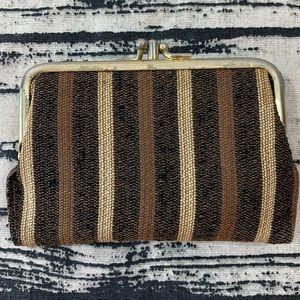 Vintage Brown Striped Wallet